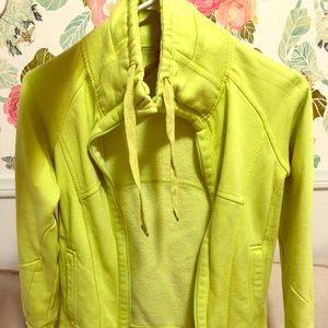 Lime Green High-collar Zip-up Hoodie